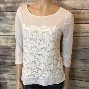 J. Crew Daisy Lace Top 3/4 Sleeve White S